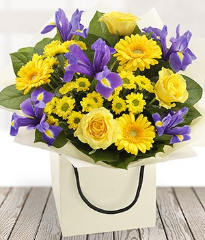 Bold and beautiful blue yellow flowers send flowers to ireland bold and beautiful mightylinksfo Images