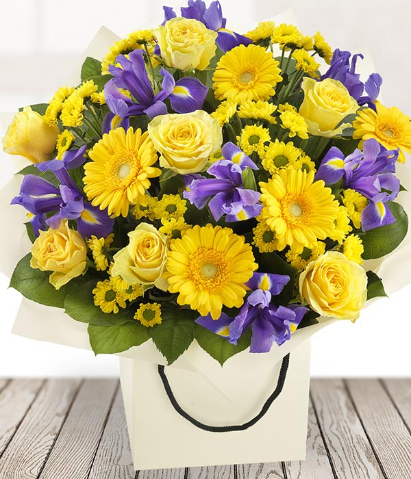 Bold and Beautiful - Blue & Yellow Flowers - Send Flowers to Ireland