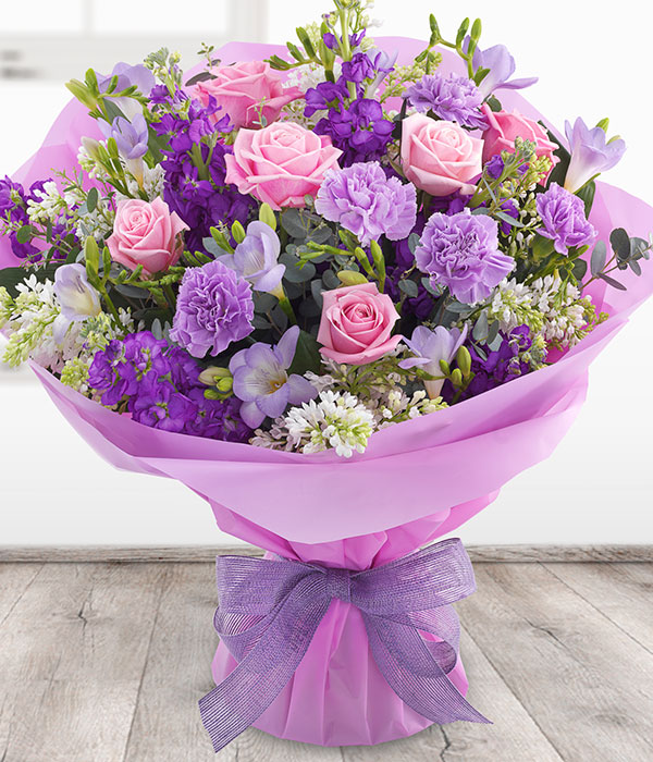 Fabulously Fragrant - Pink Roses & Purple Flower Bouquet Delivered ...