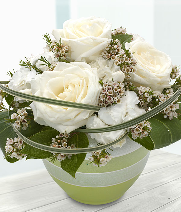 Circle of love white rose container arrangement send flowers online circle of love mightylinksfo